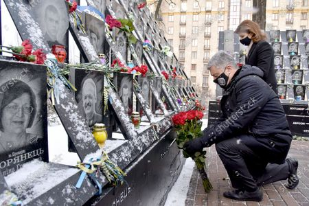 Ex-President of Ukraine, leader of the European Solidarity Party Petro Poroshenko and his wife Maryna Poroshenko lay flowers at the portraits of the killed Maidan activists in the Heavenly Hundred Heroes alley , Kyiv, capital of Ukraine.