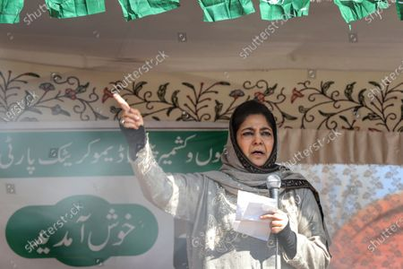 Jammu and Kashmir (PDP) Peoples Democratic Party President Mehbooba Mufti Addressing party workers during a rally in Baramulla, Jammu and Kashmir, India on 18 February 2021