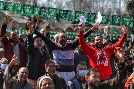 Stock Image of Workers listen to party cheif Mehbooba Mufti as Jammu and Kashmir (PDP) Peoples Democratic Party President Mehbooba Mufti Addressing party workers during a rally in Baramulla, Jammu and Kashmir, India on 18 February 2021