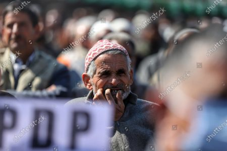 Workers listen to party cheif Mehbooba Mufti as Jammu and Kashmir (PDP) Peoples Democratic Party President Mehbooba Mufti Addressing party workers during a rally in Baramulla, Jammu and Kashmir, India on 18 February 2021