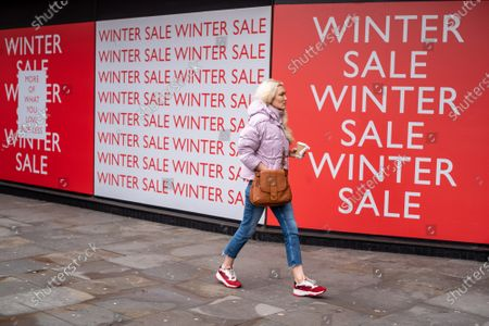 Editorial picture of Winter Sale signs in Chelsea as Downing Street mulls over how and when to unlock the country from covid restrictions, London, UK - 18 Feb 2021