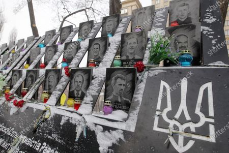 Stock Picture of Portraits of Heavenly Hundred protesters seen during the anniversary. Ukrainians commemorated the 7th anniversary of the eruption of the Euro Maidan revolution, an uprising against the government of the then Ukrainian President Viktor Yanukovych, in which at least 100 protestors died.