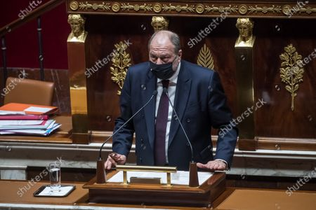 French Interior Minister Eric Dupont-Moretti delivers a speech during a debate on a proposed law for the protection of minors victims of sexual violence at the National Assembly in Paris, France, 18 February 2021. France seeks to establish an age of sexual consent for minors following a series of sexual violence and incest scandals revealed on social networks.