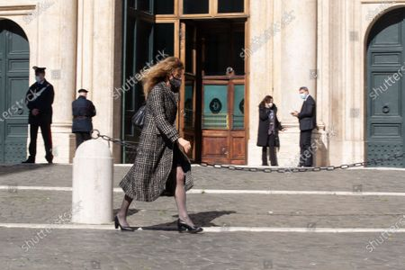 The Minister for Disabilities Erika Stefani leaves Montecitorio Palace during a break in the discussion on confidence on Mario Draghi government