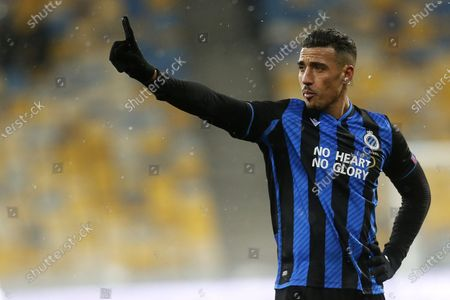 Brugge's Nabil Dirar reacts during the Europa League round of 32 first leg soccer match between Dynamo Kyiv and Brugge at the Olimpiyskiy Stadium in Kyiv, Ukraine