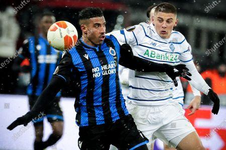 Brugge's Nabil Dirar (L) in action against Dynamo's Vitali Mykolenko (R) during the UEFA Europa League round of 32 first leg soccer match between FC Dynamo Kyiv and Club Brugge in Kiev, Ukraine, 18 February 2021.