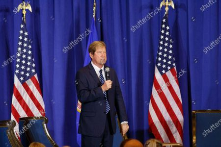 """Stock Image of U.S. Senator Tina Smith's (D-MN) challenger, Jason Lewis (R-MN), addressed the crowd at their """"Cops for Trump"""" listening session."""