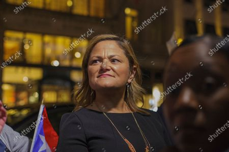 Melissa Mark-Viverito attempting to take over the rally in which she only received ire from protesters.  (Photo by Shay Horse/NurPhoto)