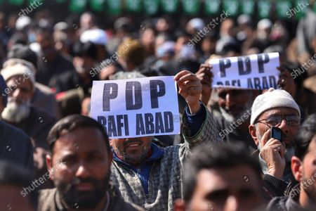 Stock Photo of Jammu and Kashmir (PDP) Peoples Democratic Party President Mehbooba Mufti Addressing party workers during a rally in Baramulla, Jammu and Kashmir