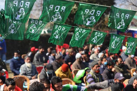 Jammu and Kashmir (PDP) Peoples Democratic Party President Mehbooba Mufti Addressing party workers during a rally in Baramulla, Jammu and Kashmir