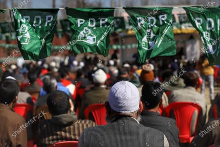 Stock Picture of Jammu and Kashmir (PDP) Peoples Democratic Party President Mehbooba Mufti Addressing party workers during a rally in Baramulla, Jammu and Kashmir