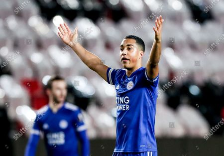 Youri Tielemans of Leicester reacts during the UEFA Europa League round of 32 first leg soccer match between Slavia Prague and Leicester City in Prague, Czech Republic, 18 February 2021.