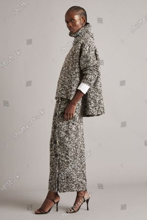 A Model wearing an outfit from the Womens Ready to wear, pret a porter, collections, winter 2021 2022, original creation, during the Womenswear Fashion Week in New York, from the house of Adam Lippes