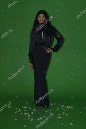 A Model wearing an outfit from the Womens Ready to wear, pret a porter, collections, winter 2021 2022, original creation, during the Womenswear Fashion Week in New York, from the house of Rosetta Getty