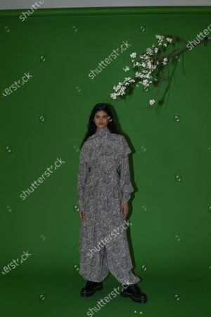 Stock Photo of A Model wearing an outfit from the Womens Ready to wear, pret a porter, collections, winter 2021 2022, original creation, during the Womenswear Fashion Week in New York, from the house of Rosetta Getty