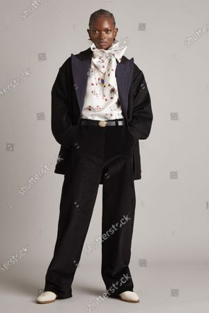 Stock Picture of A Model wearing an outfit from the Womens Ready to wear, pret a porter, collections, winter 2021 2022, original creation, during the Womenswear Fashion Week in New York, from the house of Adam Lippes