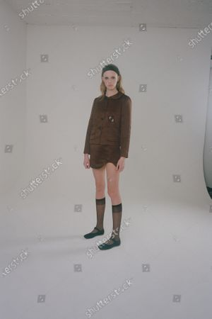 A Model wearing an outfit from the Womens Ready to wear, pret a porter, collections, winter 2021 2022, original creation, during the Womenswear Fashion Week in New York, from the house of Sandy Liang