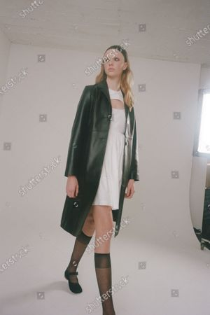 Stock Image of A Model wearing an outfit from the Womens Ready to wear, pret a porter, collections, winter 2021 2022, original creation, during the Womenswear Fashion Week in New York, from the house of Sandy Liang