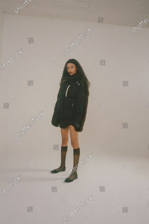 Stock Photo of A Model wearing an outfit from the Womens Ready to wear, pret a porter, collections, winter 2021 2022, original creation, during the Womenswear Fashion Week in New York, from the house of Sandy Liang