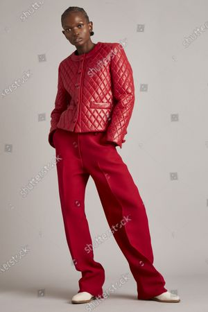 Stock Image of A Model wearing an outfit from the Womens Ready to wear, pret a porter, collections, winter 2021 2022, original creation, during the Womenswear Fashion Week in New York, from the house of Adam Lippes