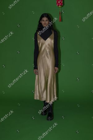 Stock Picture of A Model wearing an outfit from the Womens Ready to wear, pret a porter, collections, winter 2021 2022, original creation, during the Womenswear Fashion Week in New York, from the house of Rosetta Getty