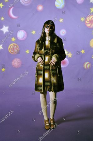 A Model wearing an outfit from the Womens Ready to wear, pret a porter, collections, winter 2021 2022, original creation, during the Womenswear Fashion Week in New York, from the house of Anna Sui