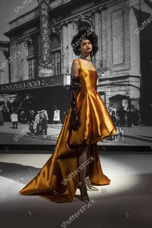 A Model wearing an outfit from the Womens Ready to wear, pret a porter, collections, winter 2021 2022, original creation, during the Womenswear Fashion Week in New York, from the house of Bibhu Mohapatra
