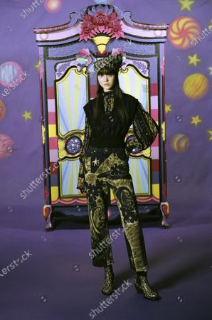 Stock Picture of A Model wearing an outfit from the Womens Ready to wear, pret a porter, collections, winter 2021 2022, original creation, during the Womenswear Fashion Week in New York, from the house of Anna Sui