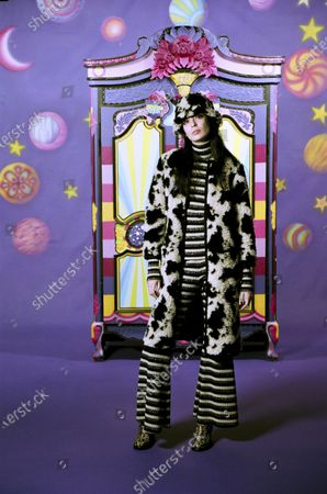 Stock Photo of A Model wearing an outfit from the Womens Ready to wear, pret a porter, collections, winter 2021 2022, original creation, during the Womenswear Fashion Week in New York, from the house of Anna Sui