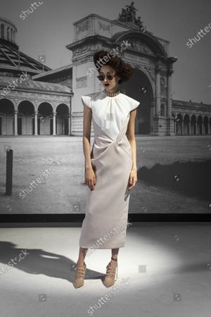 Stock Image of A Model wearing an outfit from the Womens Ready to wear, pret a porter, collections, winter 2021 2022, original creation, during the Womenswear Fashion Week in New York, from the house of Bibhu Mohapatra