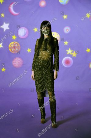 Stock Image of A Model wearing an outfit from the Womens Ready to wear, pret a porter, collections, winter 2021 2022, original creation, during the Womenswear Fashion Week in New York, from the house of Anna Sui