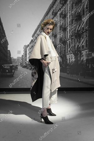 Stock Photo of A Model wearing an outfit from the Womens Ready to wear, pret a porter, collections, winter 2021 2022, original creation, during the Womenswear Fashion Week in New York, from the house of Bibhu Mohapatra