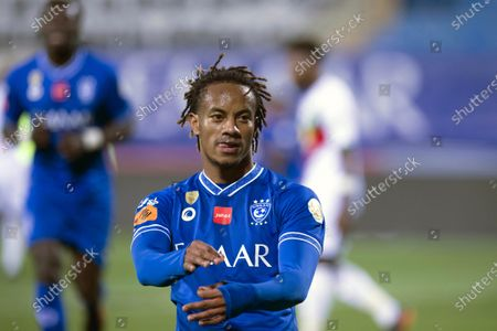 Al-Hilal's player Andre Carrillo celebrates after scoring a goal during the Saudi Professional League soccer match between Al-Hilal and Al-Ettifaq at Prince Faisal Bin Fahd Stadium, in Riyadh, Saudi Arabia, 18 February 2021.