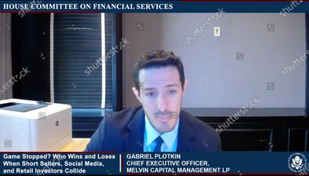 """In this image from United States House television, Gabriel Plotkin, Chief Executive Officer, Melvin Capital Management LP, makes opening remarks during the US House Committee on Financial Services virtual hearing """"Game Stopped? Who Wins and Loses When Short Sellers, Social Media, and Retail Investors Collide"""" in Washington, DC."""