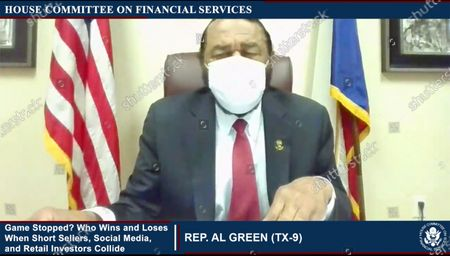 """In this image from United States House television, US Representative Al Green (Democrat of Texas), makes opening remarks during the US House Committee on Financial Services virtual hearing """"Game Stopped? Who Wins and Loses When Short Sellers, Social Media, and Retail Investors Collide"""" in Washington, DC."""