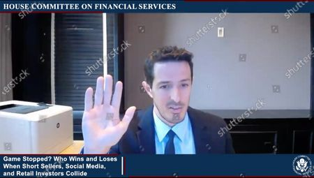 """In this image from United States House television, Gabriel Plotkin, Chief Executive Officer, Melvin Capital Management LP, is sworn-in to testify during the US House Committee on Financial Services virtual hearing """"Game Stopped? Who Wins and Loses When Short Sellers, Social Media, and Retail Investors Collide"""" in Washington, DC."""