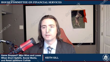 """In this image from United States House television, Keith Gill, an individual investor who profited from the value of the stock 'GameStop', makes opening remarks during the US House Committee on Financial Services virtual hearing """"Game Stopped? Who Wins and Loses When Short Sellers, Social Media, and Retail Investors Collide"""" in Washington, DC."""