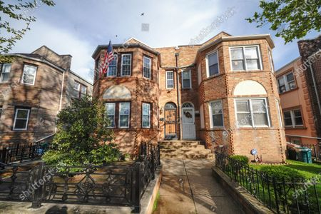 Stock Image of A view of the Costanza House made famous by Frank Costanza played by Jerry Stiller, the Astoria home was used in the sitcom 'Seinfield'  on May 11, 2020 in  New York City. Jerry Stiller, veteran comic and Ben's father, has died at 92