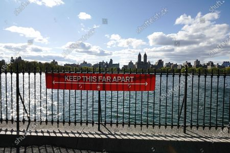 A view of Jacqueline Kennedy Onassis Reservoir in Central Park,  New York City,  USA during coronavirus pandemic on May 4, 2020.