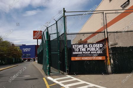 A view of a Home Depot in Queens, New York, USA during Coronavirus pandemic on May 2, 2020. US NYC Mayor Di Blasio De Blasio Commits to 100 Miles of 'Open Streets'.