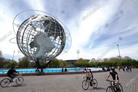 A view people enjoying the weather at Flushing Meadows Corona Park, Queens, New York, USA during Coronavirus pandemic on May 2, 2020. US NYC Mayor Di Blasio De Blasio Commits to 100 Miles of 'Open Streets'.