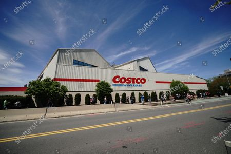 A view of long line of people at Costco in Long Island City Queens, New York, USA during Coronavirus pandemic on May 2, 2020. US NYC Mayor Di Blasio De Blasio Commits to 100 Miles of 'Open Streets'.