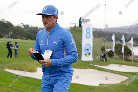 Rickie Fowler on the Pebble Beach Golf Links during the first round of the AT&T Pebble Beach Pro-Am golf tournament, in Pebble Beach, Calif