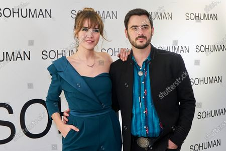 Andrea Guasch and Ruben Tajuelo attend to 'Relieve' by Sohuman photocall  at White Lab gallery