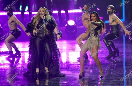 Stock Photo of Ivy Queen, left, and Gloria Trevi perform at Premio Lo Nuestro at American Airlines Arena, in Miami