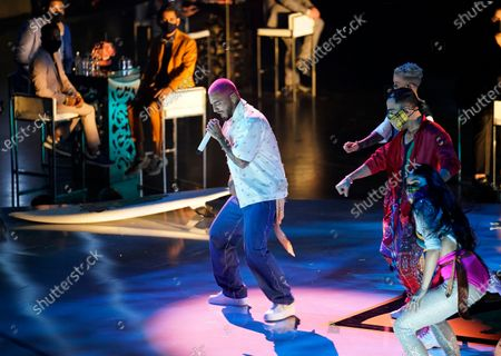 Maluma performs a medley at Premio Lo Nuestro at American Airlines Arena, in Miami