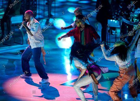 Maluma performs at Premio Lo Nuestro at American Airlines Arena, in Miami
