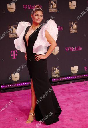 Stock Image of Chiquinquira Delgado walks the red carpet at the 33 edition of Univision 2021 Premio Lo Nuestro award show