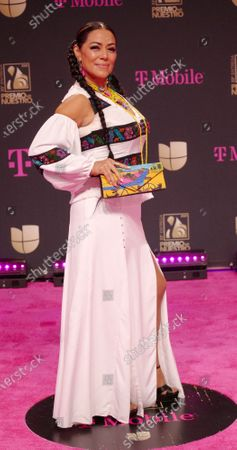 Stock Image of Lila Downs walks the red carpet at the 33 edition of Univision 2021 Premio Lo Nuestro award show