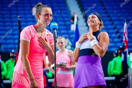 Elise Mertens (WTA 6), Aryna Sabalenka (WTA 5) celebrate after winning a tennis match between Belgian-Belarussian pair Mertens-Sabalenka and Czech pair Krejcikova - Siniakova, in the final of the women's doubles competition of the 'Australian Open' tennis Grand Slam, Friday 19 February 2021 in Melbourne Park, Melbourne, Australia.